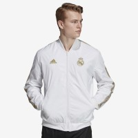 Jaket Bola adidas Real Madrid 2019/20 Anthem Jacket - White/Dark Foot