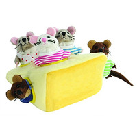 The Puppet Company Hide-Away Puppets Mouse Family in Cheese Finger Pup