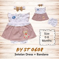 Baju Bayi Perempuan Setelan Dress Bayi 0 6 Bulan Katun Free Bandana