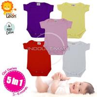 JUMPER BAYI BABY LEON ISI 5 baju kodok bayi laki perempuan 0 6 bulan