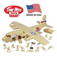 TimMee Plastic Army Men C130 Playset - Tan 27pc Giant Military Airplan
