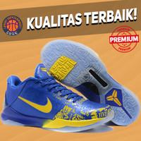 Sepatu Basket Sneakers Nike Kobe 5 Protro Rings Blue Yellow Biru