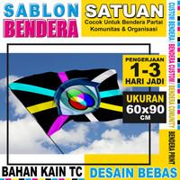 Cetak Bendera Custom Satuan - Uk.60x90cm - Bahan Kain TC Lokal Murah
