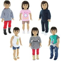Pink Butterfly Closet Doll Clothes - 6 Casual Outfits Clothing Sets Fi