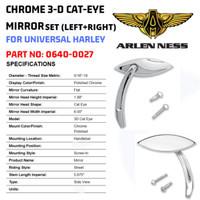 ARLEN NESS CHROME 3-D CAT-EYE MIRROR SET LEFT&RIGHT for Harley Univers