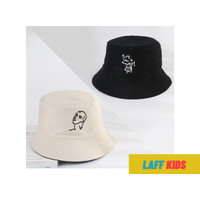Topi Bucket Hat Pria Wanita Korea Border Fsh - Krem - Hitam