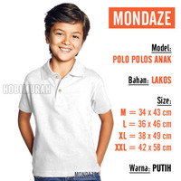 RY624 Kaos Polo ANAK - PUTIH PENDEK MONDAZE Kerah Polos Shirt Laki Per