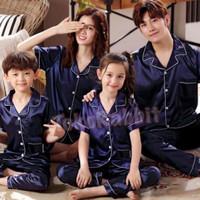 XG882 Piyama SATIN NAVY exclusive bisa couple mom and kids and family