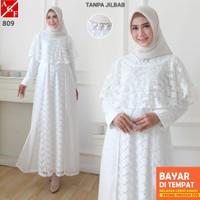 TE936 AGNES Baju Gamis Putih Wanita Brukat Busana Muslim Lebaran Umroh