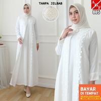YN989 AGNES Baju Gamis Putih Wanita Brukat Baju Lebaran Umroh Haji Bus