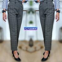 LK412 Celana Tartan KOTAK baggy pant cewek panjang wanita kerja kantor