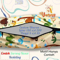 CUSTOM UKURAN Sarung Kasur Busa Resleting | LEBAR 150 sd 200 TINGGI 5
