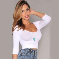 Kaos T-Shirt Wanita Musim Semi / Panas Lengan Panjang Ketat Elastis
