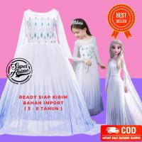New Kostum Anak Elsa White Frozen 2 Perempuan Baju Dress Gaun Cewek Pr