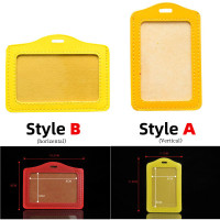 Vertical Horizontal PU Leather ID Card Holder Business Badge Card