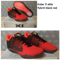 Sepatu Basket Nike Kobe 11 (XI) Elite Flyknit Black Red