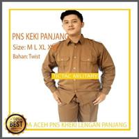 TSK Pemda Pria Aceh Lengan Panjang Stelan Baju PNS Kheki Keki