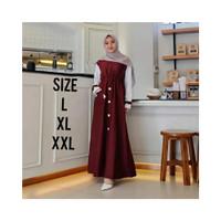 HV467 Baju Gamis Wanita Remaja Murah XL Letsmuslimah Cewek Muslim Hija