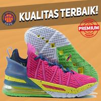 Sepatu Basket Sneakers Nike Lebron 18 LA By Night Pink Green Yellow