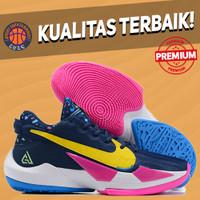 Sepatu Basket Sneakers Nike Zoom Freak 2 Midnight Navy Yellow White