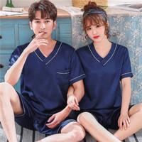 SHANGPIN set piyama couple kaos V-neck & celana pendek
