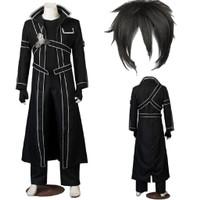 Halloween cosplay pakaian anime pria Sword Art Online Kirito Kiriya
