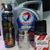 TD026 PAKET OLI MOBIL TOTAL QUARTZ 7000 10W40 FILTER OLI ENGINE FLUSH
