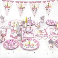 Set Perlengkapan Dekorasi Pesta Ulang Tahun Bentuk Unicorn Warna