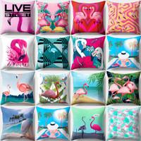 Livestreet Colorful Flamingo Beach Sky Pillow Case Car Sofa Cafe