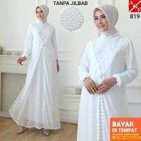 BT793 AGNES Gamis Putih Wanita Gamis Brukat Baju Muslim Wanita Busana