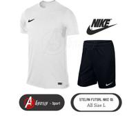 Stelan Futsal 01 Dewasa (Baju Putih, Celana Hitam)