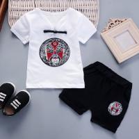 Set 2Pcs Baju Atasan Gambar Tulisan Bergaya Chinese Celana Pendek