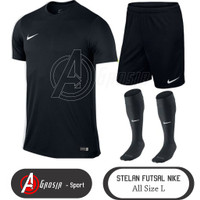 3 in 1 stelan Futsal Dewasa (Baju Hitam, Celana hitam,kaos kaki)