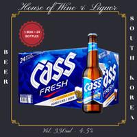 Cass Fresh Lager Beer Botol / Cass Beer Korea 330 ML ( Isi 24 Botol )