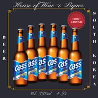 Cass Fresh Lager Beer Botol / Cass Beer Korea 330 ML ( Isi 6 Botol )