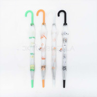 Payung Tongkat Standard / Motif / Transparan Doff / - 660
