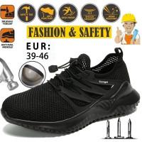 Sepatu Safety Shoes Ringan Bahan Breathable Ukuran 39-46 Untuk Pria