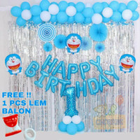 Paket Dekorasi Balon Ulang Tahun Happy Birthday Tema Doraemon 01