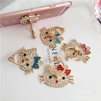 BARU Ring Stand Diamond Karakter Hello Kitty Doraemon / iRing Hp /