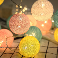 2m 20LED Christmas Cotton 35mm Ball String lights Battery Holiday