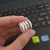 Cincin Perak asli Belarota 3 gram polos kaca lapis emas putih Limited