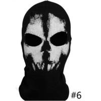 Masker Full Face Balaclava Full Face Gambar Tengkorak Hantu untuk
