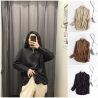 58166 Apricot Black Coffee Shirt / Kemeja Garis Krem Hitam Cokelat