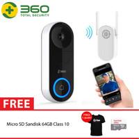 QIHOO D819 360 Smart Doorbell IP Camera CCTV WIFI AI Face + 64GB