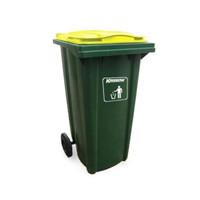 krisbow 240 ltr tempat sampah plastik outdoor neo - hijau kuning
