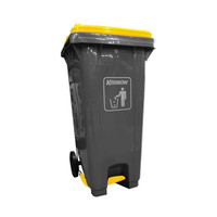 krisbow 240 ltr tempat sampah plastik outdoor pedal tutup - abu abu