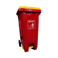 krisbow 240 ltr tempat sampah plastik outdoor pedal tutup - merah