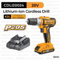 P20S Cordless Drill (10mm, 45Nm) INGCO CDLI20024 Bor Baterai Kayu Besi