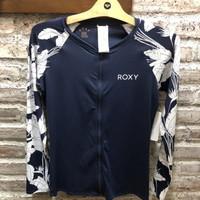 Baju renang rashguard wanita roxy original fashion zip ls lycra navy