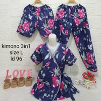 HA589 new.setelan baju tdr 3in1 model kimono wanita